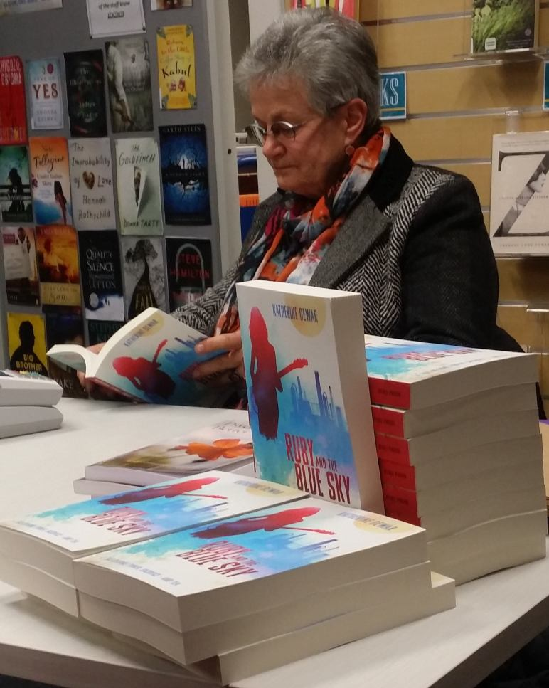 Carole Beu, The Women's Bookshop reading and selling Ruby and the Blue Sky