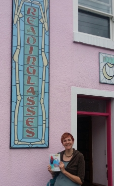 Katherine Dewar, author or Ruby and the Blue Sky, at stockists Reading Lasses