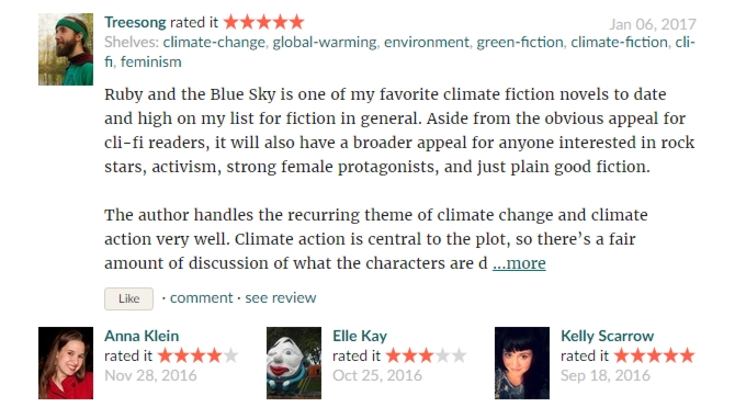 GoodReads latest reviews Ruby and the Blue Sky