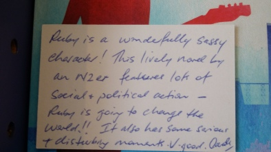 Ruby and the Blue Sky - The Women's Bookshop review card