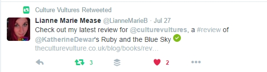 Twitter post about Ruby and the Blue Sky review on Culture Vulture
