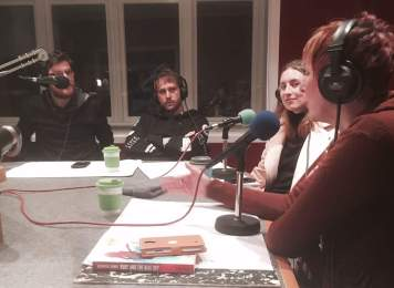 Katherine Dewar with fellow guests Katie Rudd from The New Zealand Dance Company and actors Paul and Mark of Theatrewhack. Hosted by Richard Green and Emma Bishop.