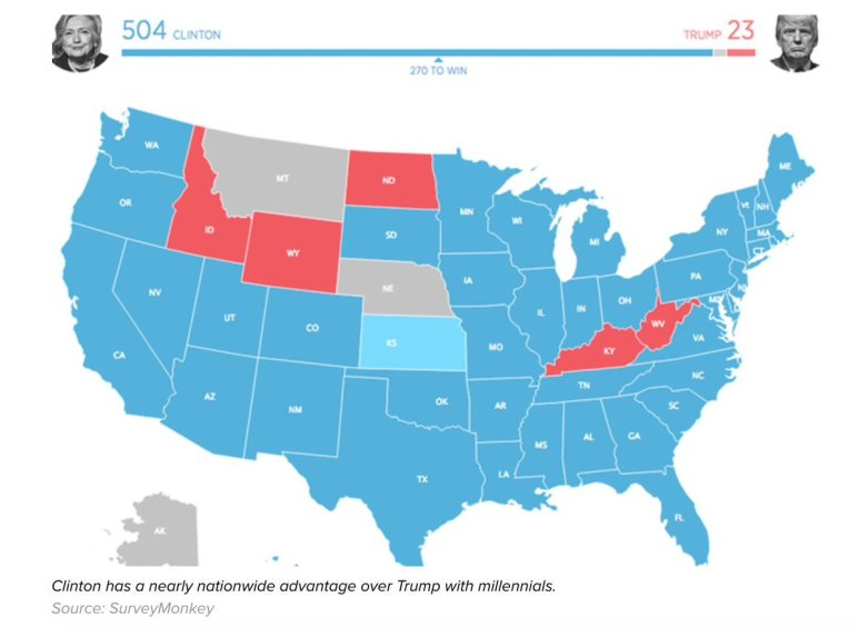Millennial voting map US Nov 2016