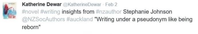 Katherine Dewar tweet on writing by Stephanie Johnson