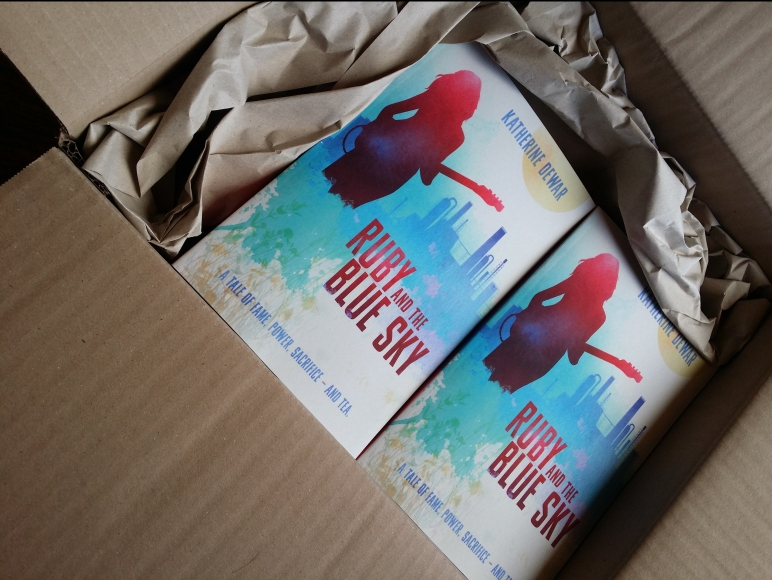 The first box of copies of Ruby and the Blue Sky